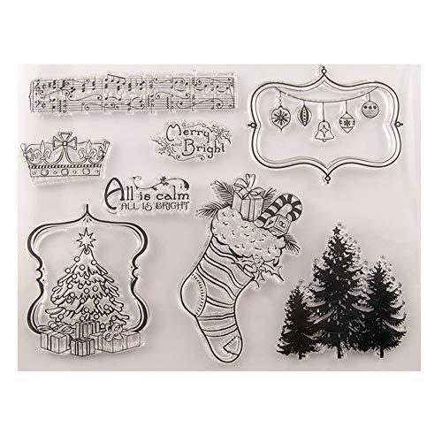 Weihnachtsbaum-Socken, Weihnachtsgeschenke, Weihnachtskugeln, klare Stempel für Weihnachtskarten, Dekoration, Scrapbooking, Gummistempel zum Basteln