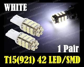 EZ Motoring 2pcs 42-SMD T15 12V LED Replacement Light Bulbs + STICKER 921 912 906 - White