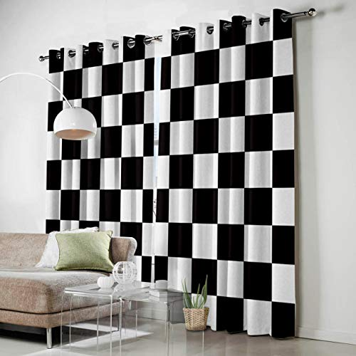SODIKA 2 Window Curtain Panels for Living Room/Bedroom/Kitchen Grommets Window Treatment and Drapes,Simple Black and White Checkered Flag 52 by 63 Inch