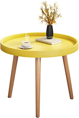 Creative Living Room Small Coffee Table, Office Coffee Table, Plastic Round Table, Magazine Rack, Small Table, Mobile Furniture for Bedroom and Living Room,Yellow