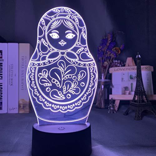 Nette Matroschka-Puppe Russische Puppen Nachtlicht 3D LED Tischlampe Kinder Geburtstagsgeschenk Nachtzimmer Dekoration