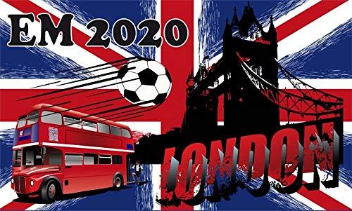 Fanshop Lünen Fahne - Flagge - EM 2020 - London - GB - 90x150 cm - Hissfahne mit Ösen - Fußball - Big Ben - Europa -