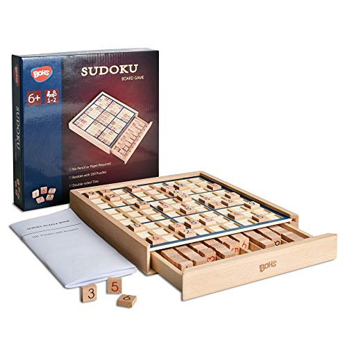 Juego de Mesa de Madera Sudoku con cajón - con Libro de...