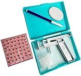 1 juego de plata de seguridad de acero de la nariz del cuerpo del oído de labios del ombligo Piercing pistola Pierce Kit de herramientas con 98 Oreja Espárragos de acero asepsia y pluma de firmar