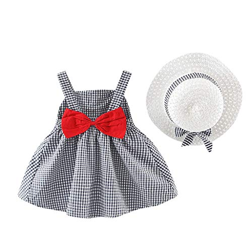 Moneycom❤Toddler Kid Baby Girl Plaid Imprimé Bow Princess Dress + Hat Outfits Set Vêtements Noir(12-18 Mois)
