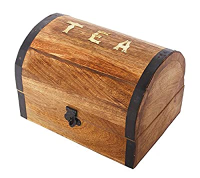 Wooden Decorative Tea Bag Storage Chest Box for Condiment Spice Vintage Rustic Kitchen Organizer with 8 Compartments