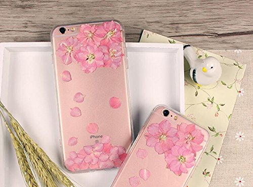 Funda para Samsung S5, Galaxy S5, funda de teléfono con flores prensadas reales para Samsung Galaxy S5, carcasa rígida transparente y cubierta para niñas Smart Samsung
