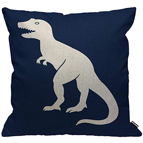 HGOD DESIGNS Cushion Cover Prehistoric Tyrannosaurus Dinosaur White in Dark Blue Background,Throw Pillow Case Home Decorative for Living Room Bedroom Sofa Chair 18X18 Inch Pillowcase 45X45cm