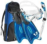 Cressi Italian Design Boutique Collection - Palau Self Adjust Fin - Panoramic View Tempered Glass Lens Dive Mask - Purge Valve Dry Tube Snorkel Set - Scuba Snorkeling Gear, Blue, M/L