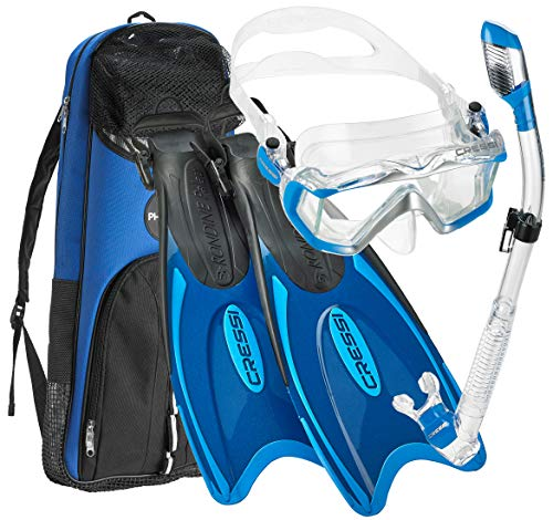 Cressi Italian Design Boutique Collection - Palau Self Adjust Fin - Panoramic View Tempered Glass Lens Dive Mask - Purge Valve Dry Tube Snorkel Set - Scuba Snorkeling Gear, Blue, XS/S