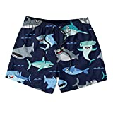Kens Child Navy Cartoon Shark Pattern Board Shorts Quick Dry Breathable Summer Swim Shorts for Boys or Girls