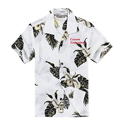 Boy Hawaiian Aloha Custom Embroidery Shirt in Palm Green in White Size 10