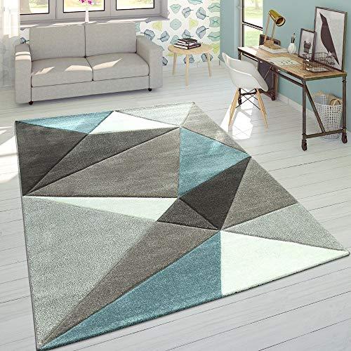 Paco Home Wohnzimmer Teppich in Pastell Farben, Moderne Rauten Dreieck u. Zick-Zack Muster, Grösse:160x230 cm, Farbe:Türkis