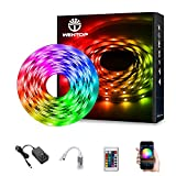 WenTop LED Strip Lights Kit SMD 5050 16.4 Ft (5M) RGB WiFi Wireless Smart Phone Controlled Strips Light Works with Android and iOS, IFTTT, Google Assistant and Alexa