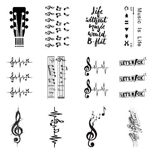 SanerLian Guitar Music Temporary Tattoo Sticker Watercolor Waterproof Adult Men Women Arm Shoulder Back Neck Body Art 10.5X6cm Set of 12 (color3)