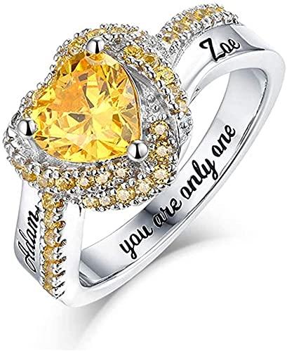 kyznx corona personalizada en forma de corazón que simula un anillo con nombre personalizado de piedra natal, plata de ley 925, pareja, anillo femenino regalo 10 Plata chapada en platino 925