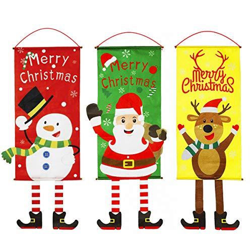 CNNIK 3 Bandera Colgante de Navidad Adornos Creativos para Puertas Letrero de...