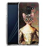 DeinDesign Silikon Hülle kompatibel mit Samsung Galaxy A8 Duos 2018 Hülle transparent Handyhülle Abstrakt Art Katze