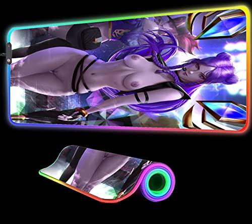 Chica Anime Hermosa Alfombrilla de Ratón RGB Gaming XXL Alfombrilla de Escritorio Led Grande Alfombrilla de Teclado Escritorio 900X400X4 mm