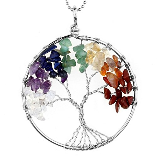 Jovivi 7 Chakra Gemstone Tree of Life Natural Tumbled Gemstone Wire Wrapped Pendant Necklace