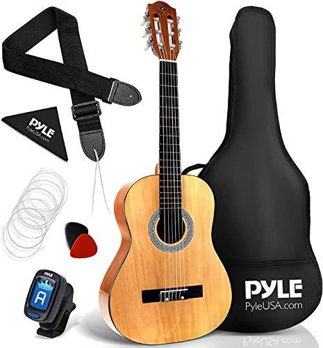 Pyle Guitarra acústica de 6 cuerdas, derecha, marrón (PGACLS83)