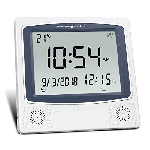 AL-HARAMEEN HA-4009 (Gray) Azan Clock,Muslim Prayer Times Alfajr azan Clock / Multifunctional Clock /Decorative Clock/ Mosque Clock