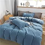 XJST Set de Hojas de Cama de 4 Piezas, Hojas de Cama de Lujo, extrateres Suaves, Bolsillos Profundos, sábanas fáciles, Transpirables y de refrigeración, cómodas con sofá Cama,Bentley Blue,1.2m Bed