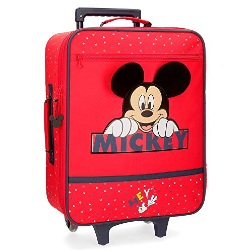 Disney Happy Mickey Red Cabin Suitcase 35 x 50 x 16 cm Soft Polyester 25 Litre 1.8 kg 2 Wheels Hand Luggage