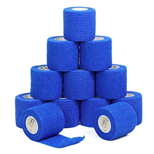YuMai Vendaje adhesivo Primeros Auxilios Cinta Adhesiva, 5 cm × 4,5 m Pack de 12 aprobado por la FDA - Azul