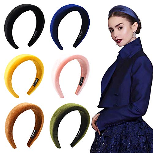 Headbands Women Hair Head Bands  6 Pcs Accessories Velvet Padded Head Bands Cute Beauty Fashion Hairbands Girls Vintage Hair Bands Boho Wide Band For Workout GYM Yoga Running