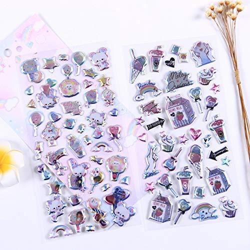 BLOUR Kawaii Papelería Pegatinas 3D Dulces Animales Diario de Viaje Planificador Decorativo Pegatinas Móviles Scrapbooking DIY Craft Stickers1pcs