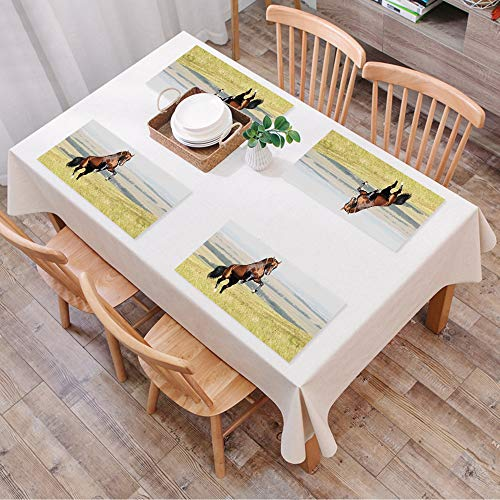 Set de Table Antidérapant Lavable Résiste à la Chaleur Rectangulaire Sets de Table pour Restaurant,Chevaux, baie, Akhal, teke, étalon ch,Table à Manger en Cuisine ou Salle à Manger, 45x30 cm Lot de 4