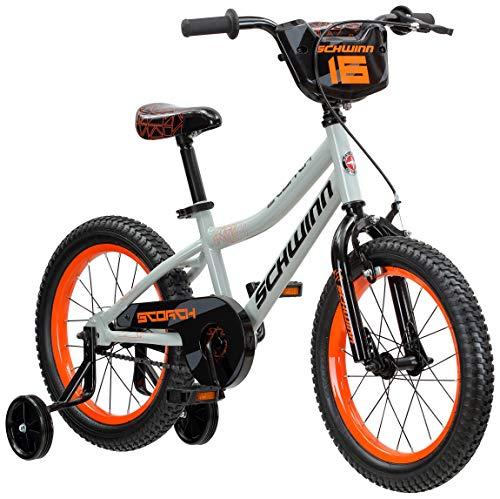 Schwinn Scorch Kids Bike, 16-Inch Wheels, Training Wheels Included, Grey