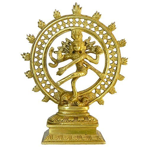 Statuetta in ottone divinita' Hindu Nataraja 21 cm artigianato indiano accessori decorazione casa