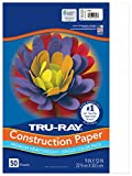 Tru-Ray Heavyweight Construction Paper, White, 9' x 12', 50 Sheets
