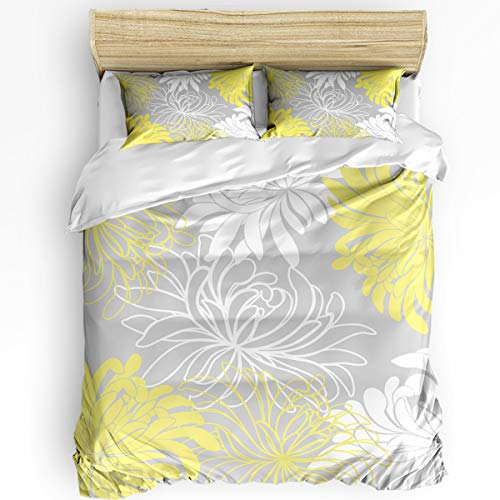 3 Pcs Queen Duvet Cover Set - Dahlia Pinnata Flower Turquoise Yellow and White Soft Breathable Bedding Set with Zipper Closure and 2 Pillow Shams (Not Including Comforter)