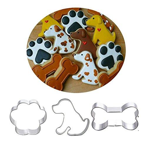 Astra Gourmet Ausstechformen-Set für Hunde, 3-teilig, Labrador, Pfotenabdruck und Hundeknochen, Edelstahl