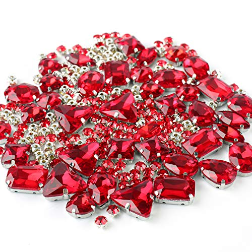 Sew on Rhinestones, 180pcs Red Rhinestones Mix Shapes Sew on...