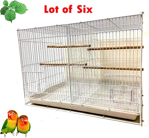 Mcage Small Aviary Canary Finch Budgie Lovebird Parakeet Breeding Bird Flight Cages, Pack of 6, 24 x 16 x 16 H (White, Center Divider)