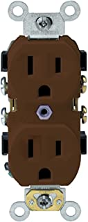 Leviton BR15 15-Amp, 125-Volt, Narrow Body Duplex Receptacle, Straight Blade, Commercial Grade, Self Grounding, Brown