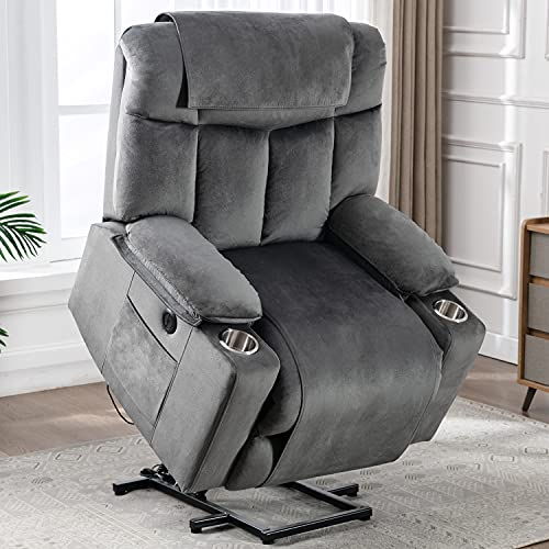 CANMOV Power Lift Recliner Chair for Elderly Heavy Duty and Safety Motion Reclining Mechanism-Anti Skid Fabric Sofa Living Room Chair with USB Port, 2 Cup Holders, Washable Covers, Grey