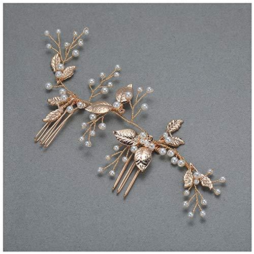 SWEETV Braut Haarkamm Gold Hochzeit Haarspange, Perle Hochzeit Haarschmuck Haarrebe Mit Kamm für Bräute