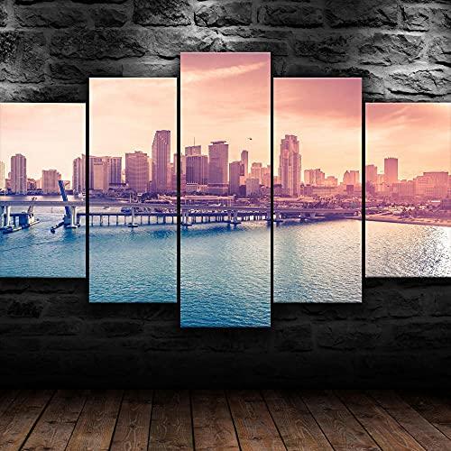 COCOCI 5 Piezas De Lienzo Miami Florida Modern City Lienzos Decorativos XXL Cuadros Modernos Baratos Cuadros para Pasillo Cuadros Decorativos Cuadros para Dormitorios Modernos
