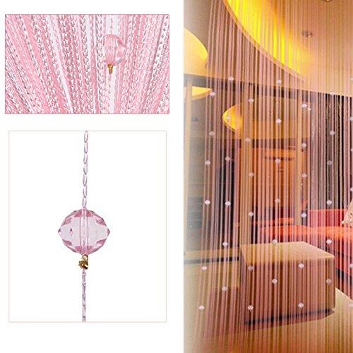 Demiawaking Dekorative String Vorhang Perlen Wand Panel Fringe Zimmer Tür Fenster (Rosa)