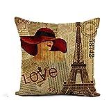 N\A Throw Pillow Cover Old Vintage Paris Periódico Rasgado Francia Collage Carta Francesa Funda de Almohada Decoración para el hogar Funda de Almohada de Lino de algodón Cuadrada Funda de cojín