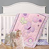 Brandream Purple Butterfly Crib Bedding Sets for Girls Floral Baby Nursery Bedding, Pink & Purple, 5 Pieces