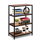 GreenForest Industrial Bookcase 4 Tier Rustic Bookshelf Metal Frame for Home and Office