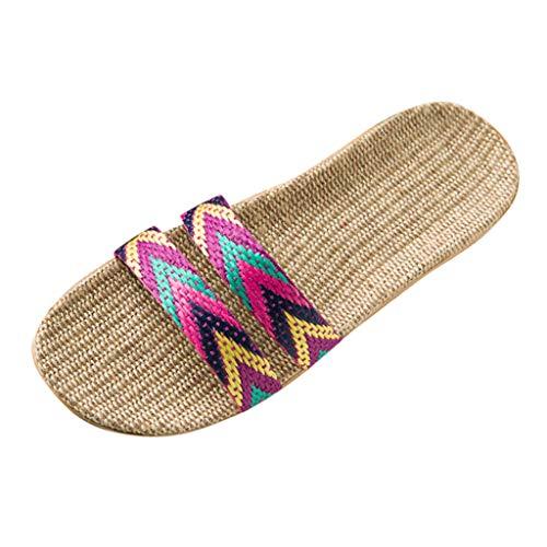 TUDUZ Zapatos De Playa Planos para Mujer Bohemias Pantuflas Lino Bowknot Playa Sandalias (Rojo.k, 39-40)