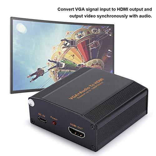 sjlerst VGA+Audio-zu-HDMI-Wandler,Tragbarer 1080P-Konverter-Adapter für tragbare Audio-Wandler,HDMI-Ausgangsauflösung (Maximale Unterstützung für 1080P/60 Hz),Stabile Leistung