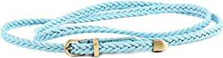 HMJZLY New Hand-Woven Belt Female Pin Buckle Retro Casual Wild Thin Belt Waist Rope Decoration (Color : Sky Blue, Size : 103cm(Without Buckle))